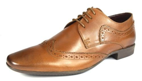 POD Ceres Tan Pointed Toe Brogues Lace Up Mens Shoes